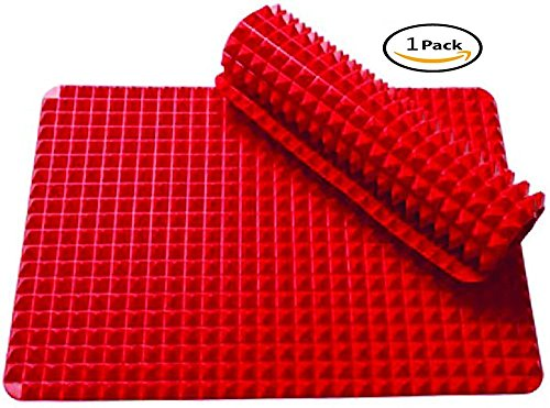 PYRAMID SILICONE BAKING MAT,Silicone Baking Mat for Healthy Cooking, Non Stick Baking Sheet16X11.5 Inches (Red) .