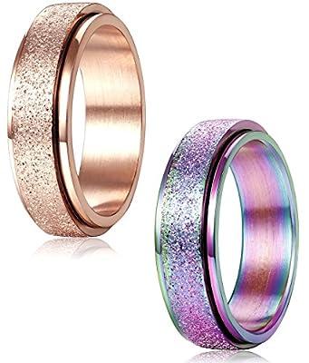 FIBO STEEL 2 Pcs 6MM Stainless Steel Spinner Wedding Rings for Women Men Engagement Promise Ring,Size 4-12