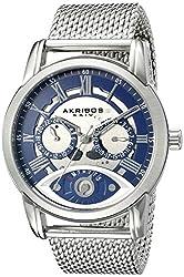 Akribos XXIV Men's AK846SSBU Round Silver and Blue Dial Three Hand Retrograde Quartz Staniless Steel Bracelet Watch
