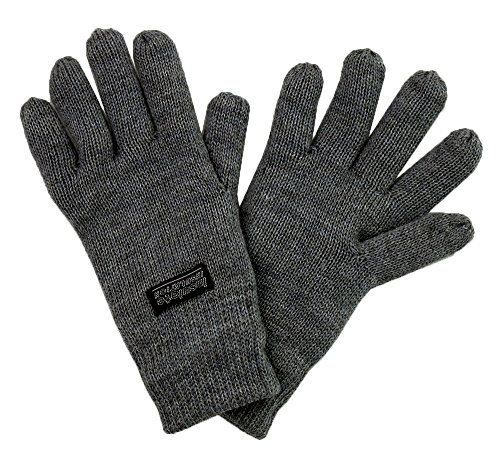 SANREMO Unisex Kids Knitted Fleece Lined Warm Winter Gloves (7-14, Grey) (Gloves Winter Girls)