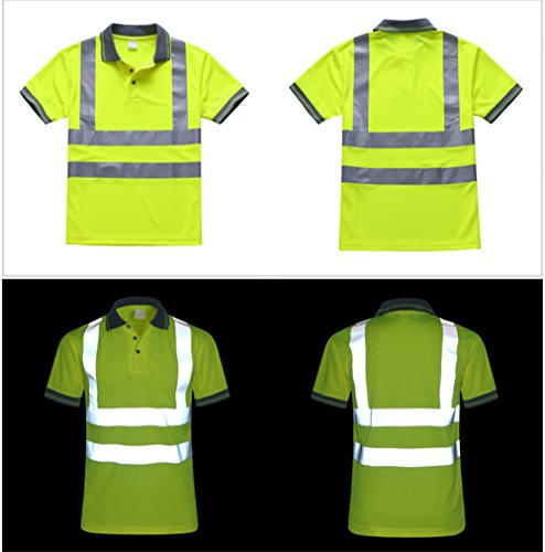 GanDecor Reflective Polo Shirt Safety Top Quick Dry High Visibility Short Sleeve by GanDecor (Image #3)