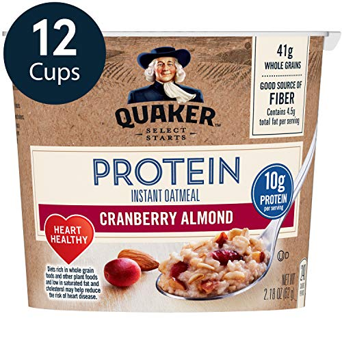 Quaker Protein Instant Oatmeal Express Cups, Cranberry Almond, 10g Protein, 12 Count