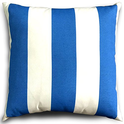 Decorative Square 18 x 18 Inch Throw Pillows (Indoor/Outdoor) Cabana - Blue & White Stripe Cushion Pillow