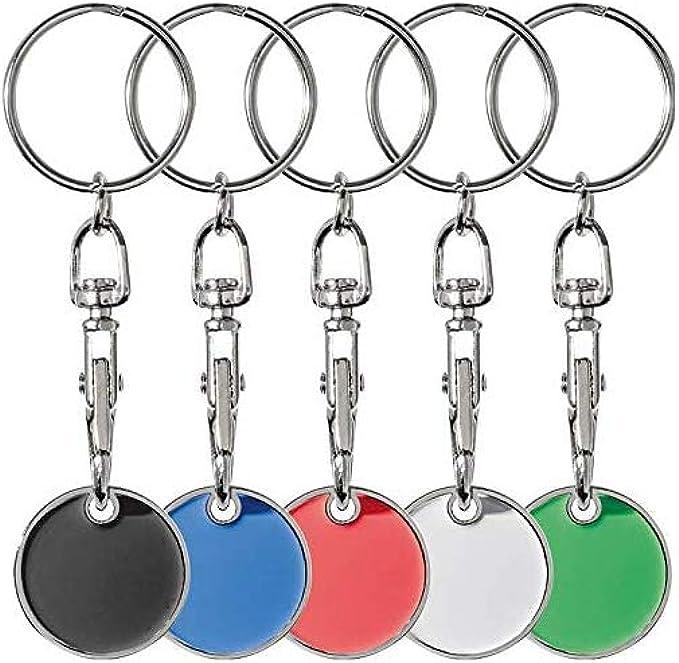 5x Metall Schlüsselanhänger Mit Einkaufschip 5 Verschiedene Farben Bekleidung