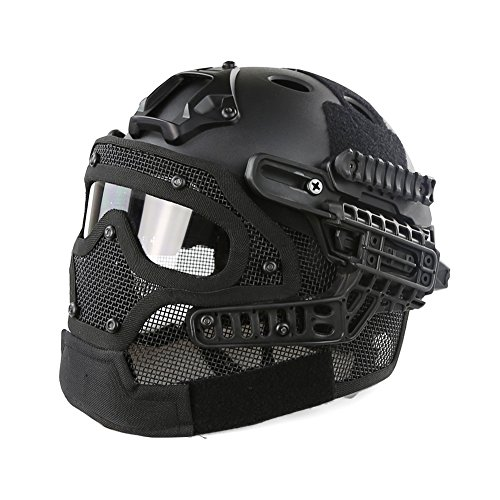 iMeshbean PJ Fast Tactical Helmet Airsoft Full Face Mask with Goggles Molle Mesh Breathable Eye Protection for Military CS Paintball Shooting Hunting Cycling Outdoor Sport