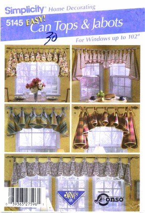Home Decor Pattern Valances (Simplicity 5145 Home Decorating Sewing Pattern Window Treatments Valance and Jabots)