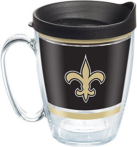 Tervis 1257621 NFL New Orleans Saints Legend Tumbler with Wrap and Black Lid 16oz Mug, Clear