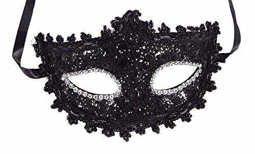 [Ashopz Venetian Eye Mask Fancy Dress Accessory w /  Feather Flower Lace, Black2, 3 Black, One Size] (Venetian Carnival Masks)