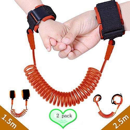 Lost Collection Link - 2 Pack Child Anti-Lost Wrist Link,Safety Velcro Harness Strap Rope for Kids, Leash Walking Hand Belt for Toddler, Ideal Safety Wristband for Age of 3 to 12, 98 inches/ 2.5M&59 inches/1.5M