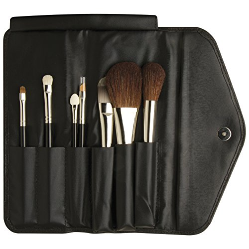 da Vinci Cosmetics Series 4814 Classic Travel Brush Set with 7 Brushes, Napa Italian Leather Case, 12.35 Ounce, 7 Brushes