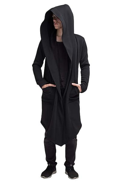 Black Cardigan Mens Cardigan Long Hooded Cardigan for Men Cape Coat Loose Jacket Overcoat Hip Hop Urban Hoodie