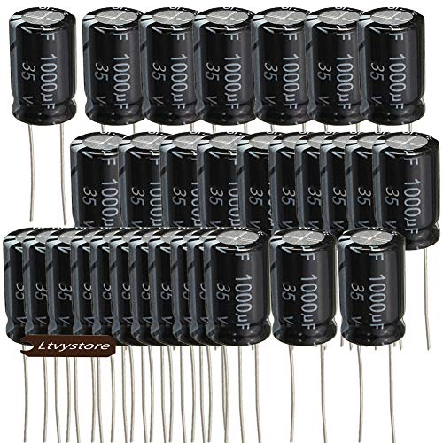 Electrolytic Capacitor, 1000UF 35V 13×21MM Aluminum Radial Leads Capacitors 105℃ High Temp, Pack of 30, Sold by Ltvystore