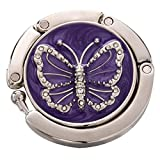 TOOGOO(R) Purple Butterfly Purse Handbag Hook Folding Hanger