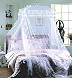 bed canopy net Luxurious Palace White Four Corner Square Double Lace Princess Hang ground Mosquito Net