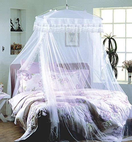 bed canopy net Luxurious Palace White Four Corner Square Double Lace Princess Hang ground Mosquito Net by bed canopy net