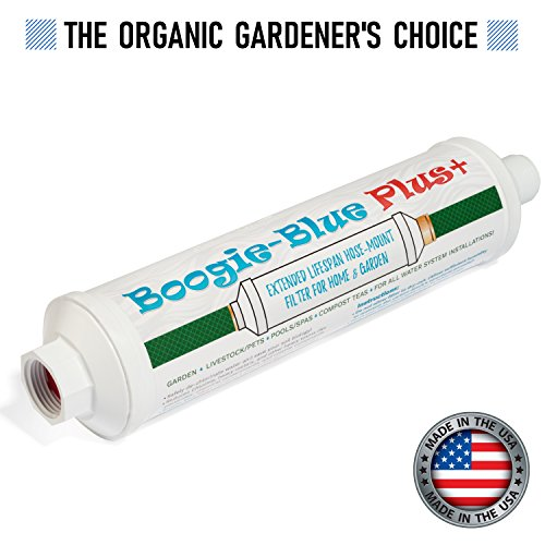 (New 2018 Design - Boogie Blue PLUS High Capacity Water Filter for garden, RV and outdoor use - Removes Chlorine, Chloramines, VOCs,)