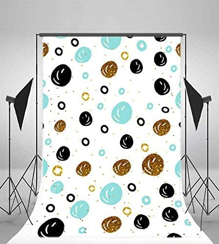 Abstract Round Dots Backdrops 6x9ft Polyester Photography Backgrounds Blue Golden Black Dots White Background Baby Newborn Children Photo Shooting Studio Props