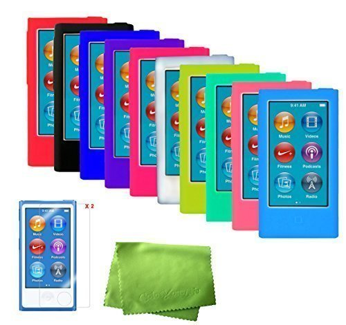 ColorYourLife 10 Soft Silicone Cases Skins Covers for New iPod Nano 8th Generation 7th Generation with 2 Screen Protectors and Cleaning Wipe