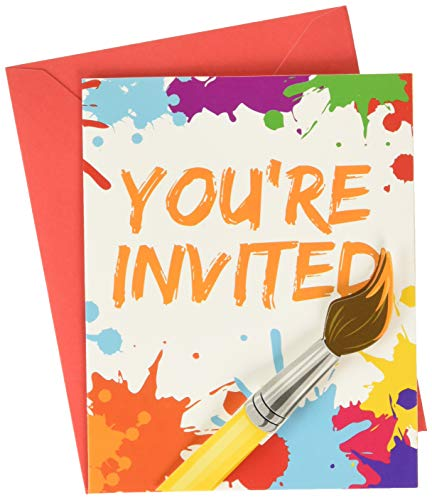 (Creative Converting 317724 Art Invitations (8 ct) Party Supplies, One Size,)