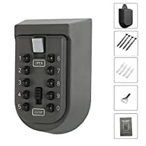 Wall Mount Key Lock Box,fiveaccy Safe Key Box with 10-Digit Push-Button Combination,Exterior Waterproof Cover for Indoor Outdoor Home Garage and Holds upto 5 Keys