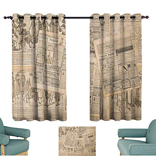 (WinfreyDecor Antique Polyester Curtain Newspaper Pages with Advertising and Fashion Magazine Woman Edwardian Publicity Image 70%-80% Light Shading, 2 Panels,72