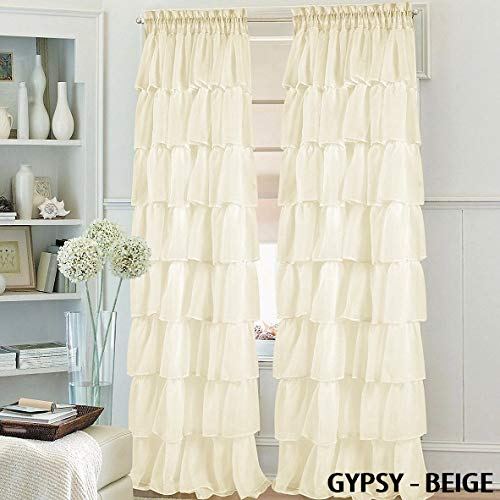 Sapphire Home Set of 2 Gypsy Ruffle Window Curtain Panels Short 63