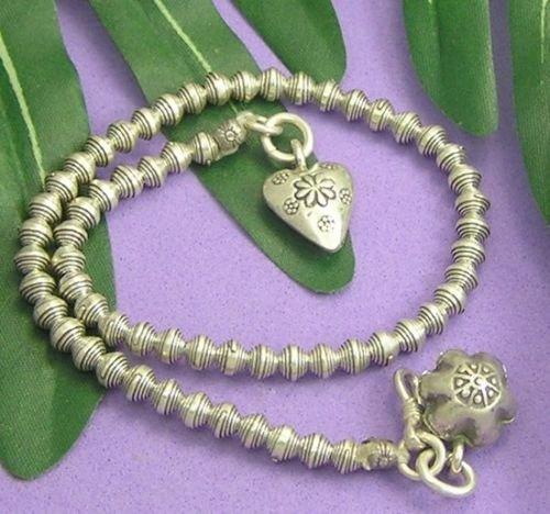INFINITY KAREN HILL TRIBE 98% Silver Handmade FLOWER HEART Bracelet Anklet A004 (Goddess Costume Diy)