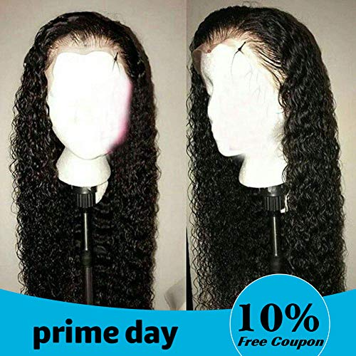 VSHOW Hair Lace Front Pre-plucked Wigs Human Hair Indian Deep Wave Wet and Wavy Virgin Hair 130% Density 18 Inches for Black Women (Indian Wigs Hair Remy)