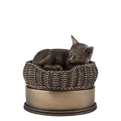 Perfect Memorials Bronze Cat in Basket Cremation Urn