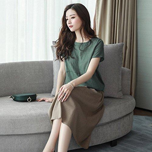Robe Femme Lin Nouveau de 109 Courtes Manches M MiGMV Jupe Costume adapt Jin Green pices Deux Robe Longueur Robe 120 Coton d't 2018 Moyenne est pour qtvtX6x