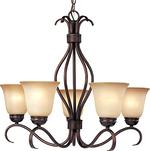 x 5-Light Chandelier, Oil Rubbed Bronze Finish, Wilshire Glass, MB Incandescent Incandescent Bulb , 60W Max., Damp Safety Rating, Standard Dimmable, Opal Glass Shade Material, 4600 Rated Lumens ()