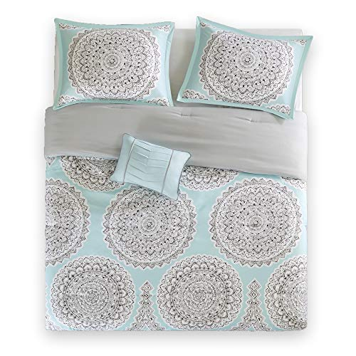 Bed Room Twin XL Twin Bed Comforter - Fits Twin and Twin XL- 3 Piece All Season Bed in A Bag Set- Aqua & Grey - Includes 1 Comforter, 1 Sham & 1 Dec Pillow- Adele