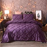 Can You Get Bigger Than a King Size Bed EL Lecho Soft Luxurious 3-Piece Pinch Pleated Duvet Cover Set 100% Egyptian Cotton 600 TC Stain Resistant Luxurious & Hypoallergenic Comforter Cover !!! (Purple,King)