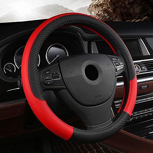 Labbyway Universal 15-inch-Car Microfiber Leather Auto Steering Wheel Cover,Anti-Slip,Odorless,Four Seasons Universal(Red)