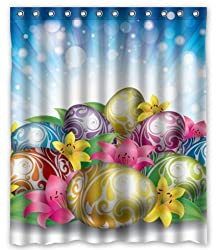 Unique Custom Happy Easter Eggs Design Waterproof fabric Polyester Shower Curtain