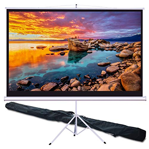 "Projector Screen with Carry Bag, WONNIE 100"" 4K HD 16:9 Indoor Outdoor Portable Projection Screen with Stand Foldable Tripod, Adjustable Movie Screen Office Presentation, Premium Wrinkle-Free Design"
