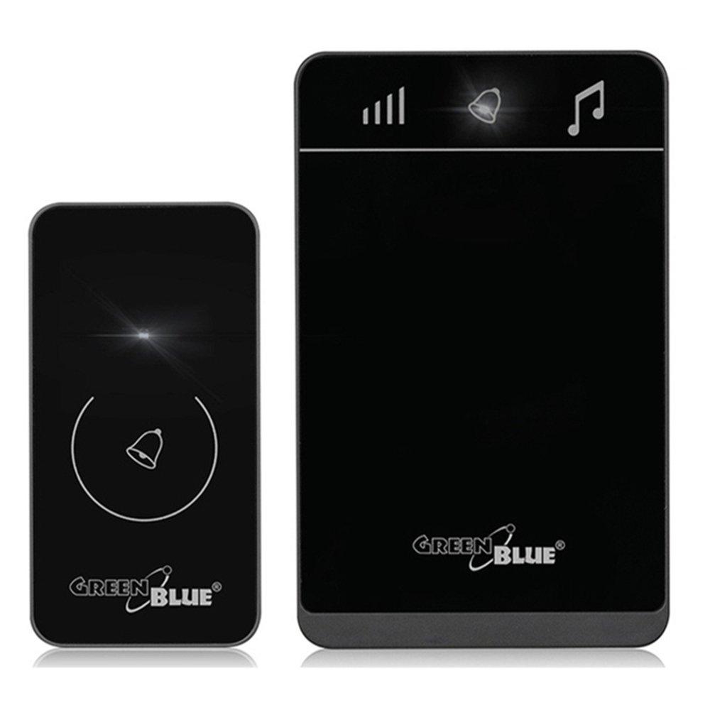 Green Blue GB110/Set de sonnerie sans fil sans fil sonnette de porte radio Sonnette sonnette syst/ème dalarme d/étecteur de mouvement