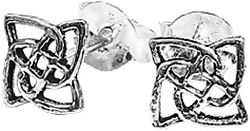 NKlaus PAR de plata esterlina 925 Celtic Gothic stud earrings knot art 7120