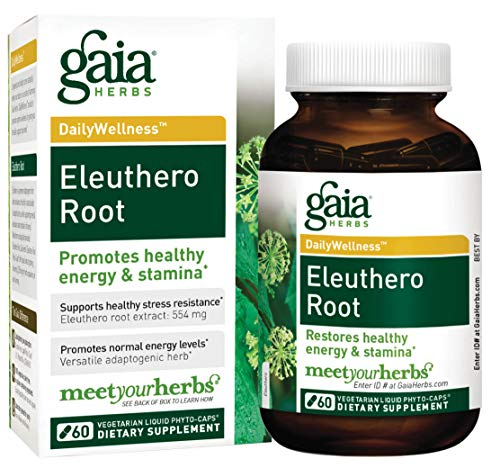 Gaia Herbs Eleuthero Root, Vegan Liquid Capsules, 60 Count, Healthy Energy and Stamina,  Mental Endurance, Metabolic Efficiency and Stress Resistance, Siberian Ginseng 554mg ()