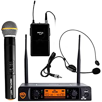 Nady DW-22 Dual Digital Wireless Combo System with 1 Handheld Microphone, 1 bodypack & 1 Headset (HM-3). Ultra-low latency with QPSK modulation - XLR and ¼