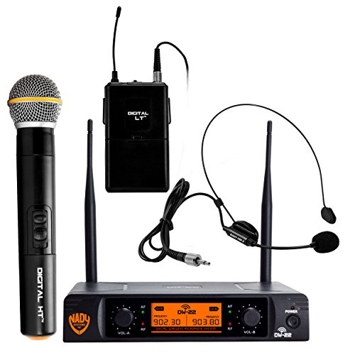Nady Dual Headset - Nady DW-22 Dual Digital Wireless Combo System with 1 Handheld Microphone, 1 bodypack & 1 Headset (HM-3). Ultra-low latency with QPSK modulation - XLR and ¼