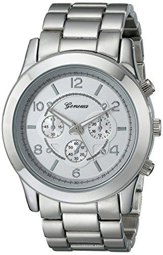 Platinum Geneva Link Womens - Geneva Women's 2365-silver-GEN  Stainless Steel Boyfriend Watch