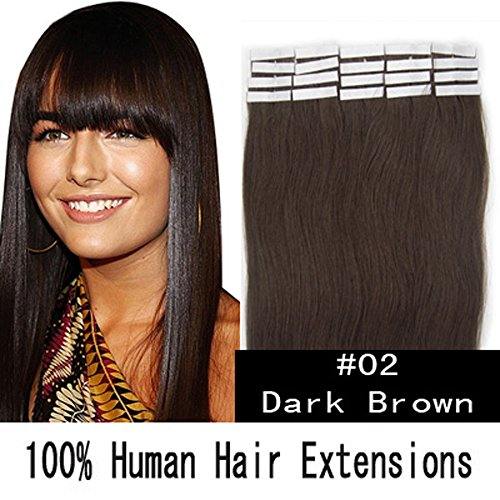 Tape-in Hair Extension 100% Remy Human Hair Straight 16inch...