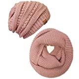 Wrapables Winter Warm Knitted Infinity Scarf and Beanie Hat Set, Pink Petal