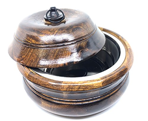 Handcrafted Wooden 8'' Chapati Box Casserole Food Container with Stainless Steel Pot with Lid by Generic (Image #4)