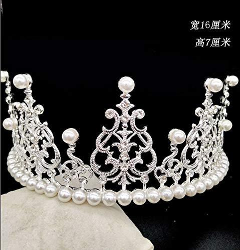 (Wedding crown Crown cake cake decoration cake with the crown crown wedding alloy bride crown, semi-circle - silver - adult)