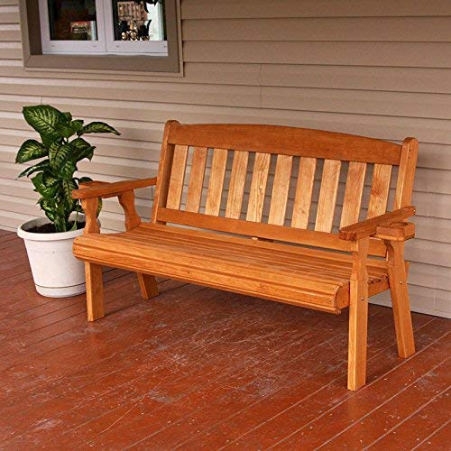 Amish Heavy Duty 800 Lb Mission Pressure Treated Garden Bench with Cupholders (5 Foot, Cedar Stain)