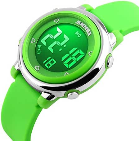 Bo Yi Kids LED Digital Unusual Electrical Luminescent Silicone Outdoor Sport Waterproof Alarm Children Dress Wrist Watch with Stopwatch for Boys Girls (Green)