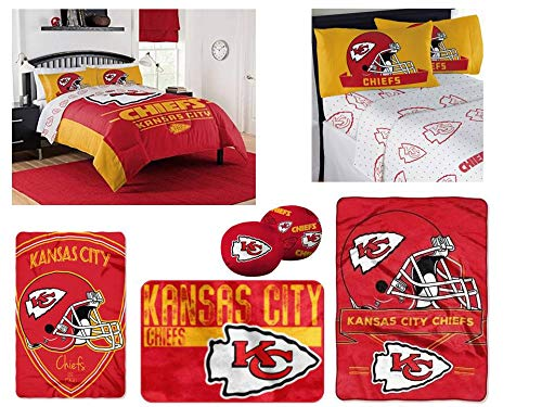 NFL Kansas City Chiefs Ultimate 14pc Queen Bedding Set - Includes 1 comforter, 2 flat sheets, 2 fitted sheets, 4 standard-size pillowcases, 1 blanket, 1 throw, 1 rug, and 2 toss pillow