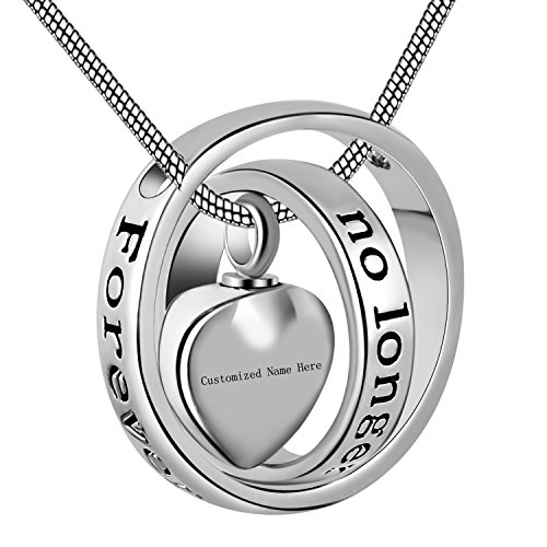 Eternally Loved No Longer by My Side,Forever in My Heart Carved Locket Cremation Urn Necklace for mom & dad (Customized Name)